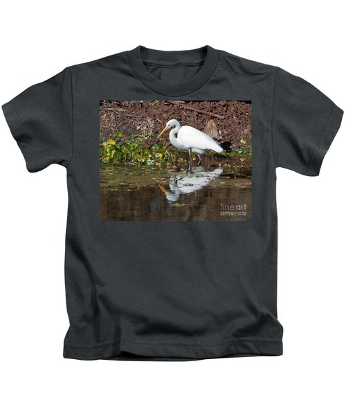 Great Egret Searching For Food In The Marsh Kids T-Shirt