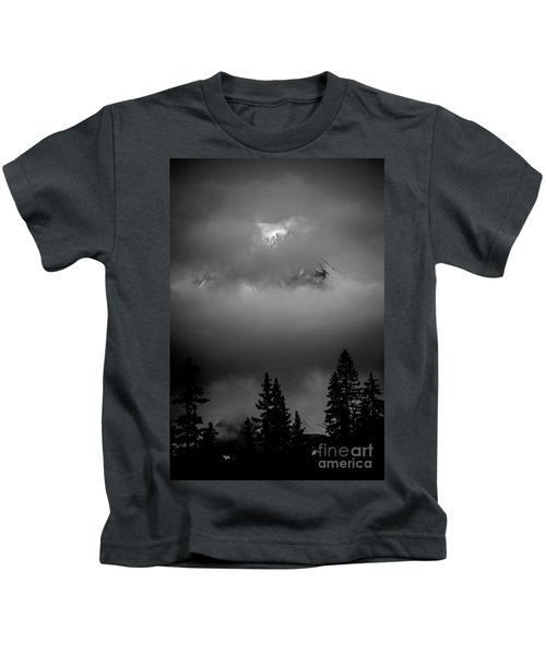 Mount Hood In Clouds Kids T-Shirt