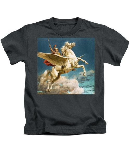 Pegasus The Winged Horse Kids T-Shirt by Fortunino Matania