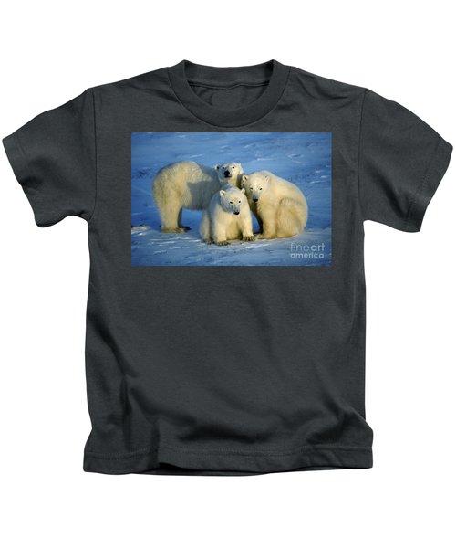 Polar Bear With Cubs Kids T-Shirt