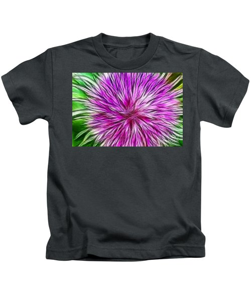 Purple Flower Fractal Kids T-Shirt