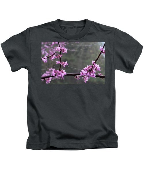 Redbud With Webs And Dew Kids T-Shirt