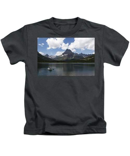 Rowboat At Many Glacier Kids T-Shirt