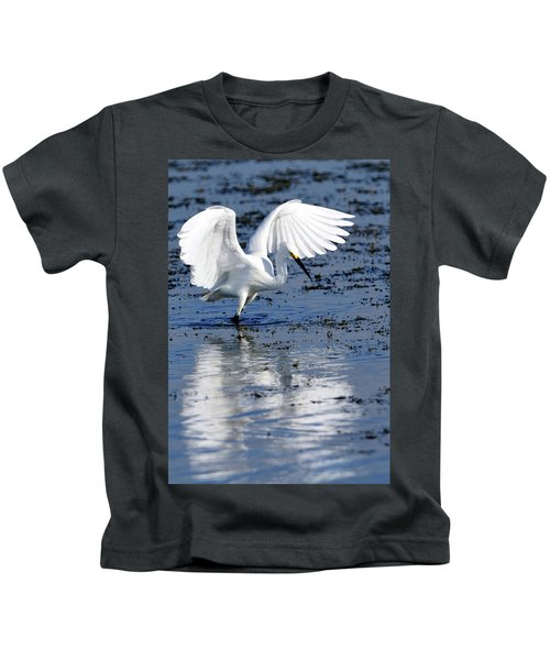 Snowy Egret Fishing Kids T-Shirt