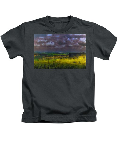 Storm Clouds Over Meadow Kids T-Shirt
