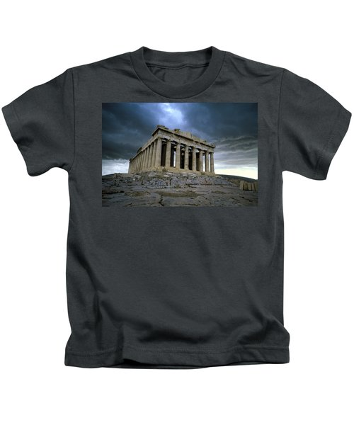 Storm Over The Parthenon Kids T-Shirt