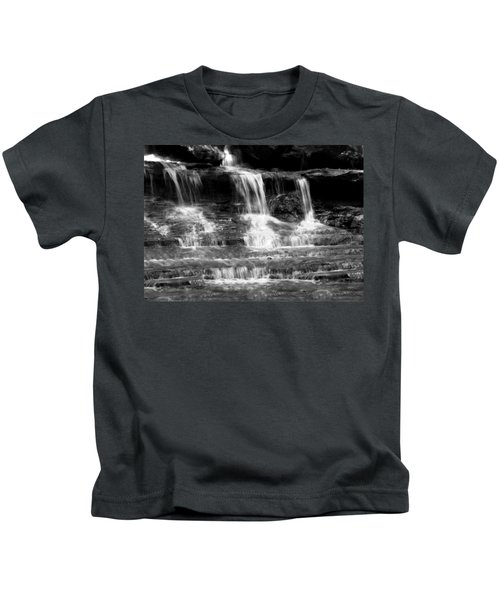 Waterfall Trio At Mcconnells Mill State Park In Black And White Kids T-Shirt