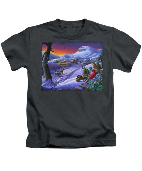Christmas Sleigh Ride Winter Landscape Oil Painting - Cardinals Country Farm - Small Town Folk Art Kids T-Shirt