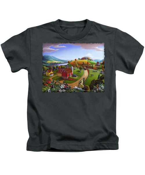 Folk Art Blackberry Patch Rural Country Farm Landscape Painting - Blackberries Rustic Americana Kids T-Shirt