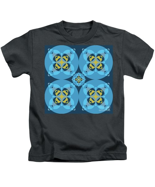 Abstract Mandala Cyan, Dark Blue And Yellow Pattern For Home Decoration Kids T-Shirt