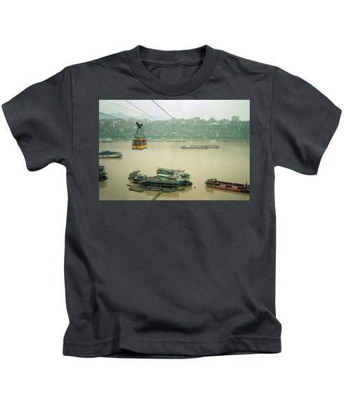 Cable Car Over Yangzi River In Chongqing China Kids T-Shirt