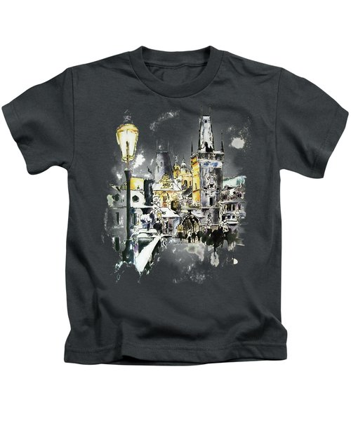 Charles Bridge In Winter Kids T-Shirt
