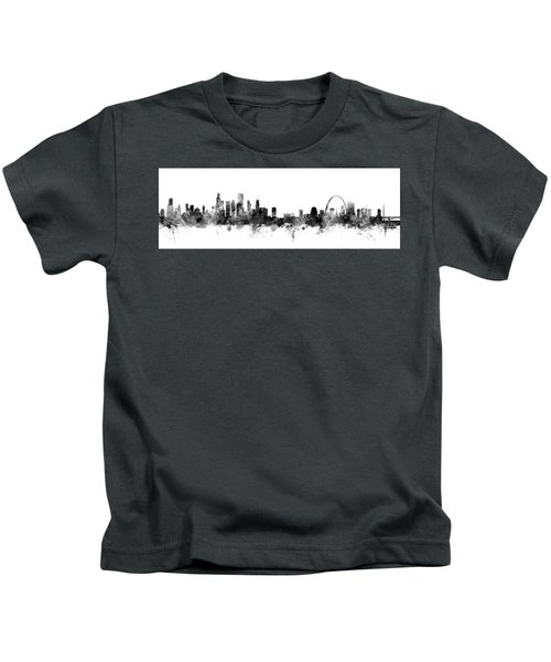 Chicago And St Louis Skyline Mashup Kids T-Shirt by Michael Tompsett