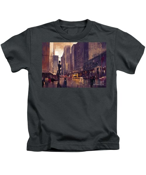 Kids T-Shirt featuring the painting City Street by Tithi Luadthong