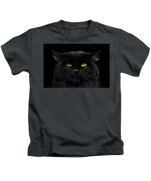 Close-up Black Cat With Yellow Eyes Kids T-Shirt