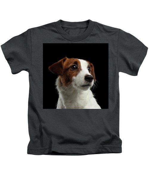 Closeup Portrait Of Jack Russell Terrier Dog On Black Kids T-Shirt