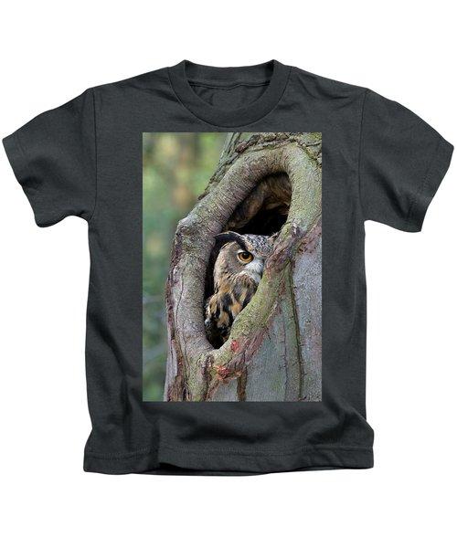 Eurasian Eagle-owl Bubo Bubo Looking Kids T-Shirt