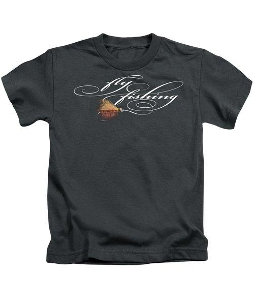 Fly Fishing Elk Hair Caddis Kids T-Shirt by Rob Corsetti