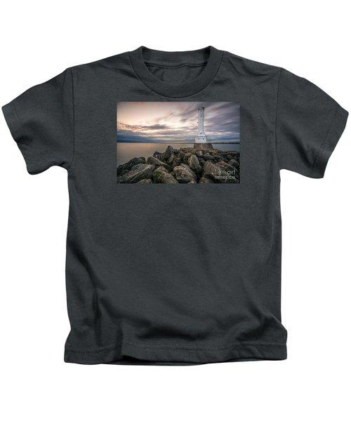 Huron Harbor Lighthouse Kids T-Shirt by James Dean