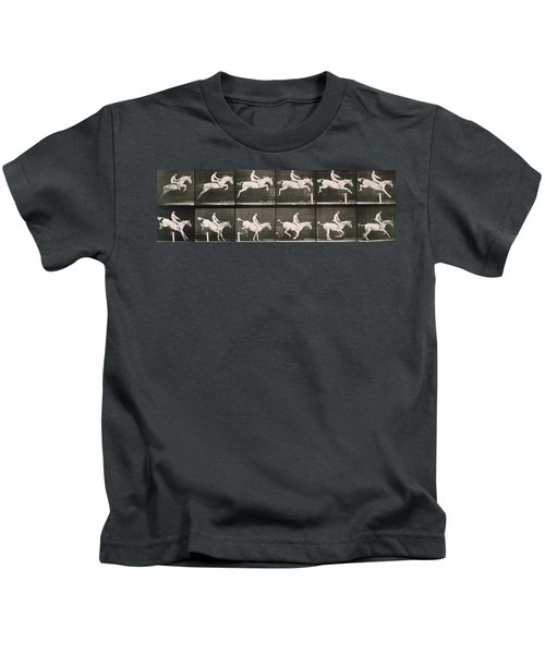 Man And Horse Jumping A Fence Kids T-Shirt