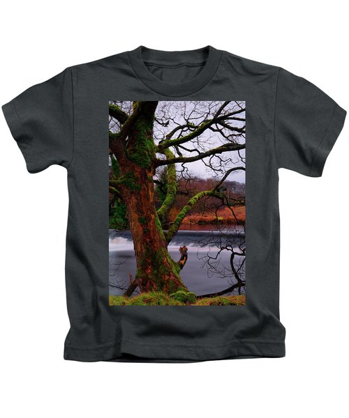 Mossy Tree Leaning Over The Smooth River Wharfe Kids T-Shirt