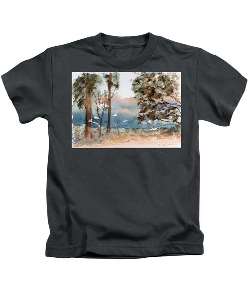 Mt Field Gum Tree Silhouettes Against Salmon Coloured Mountains Kids T-Shirt