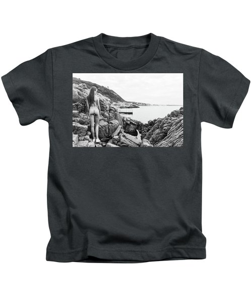 Nude Girl On Rocks Kids T-Shirt