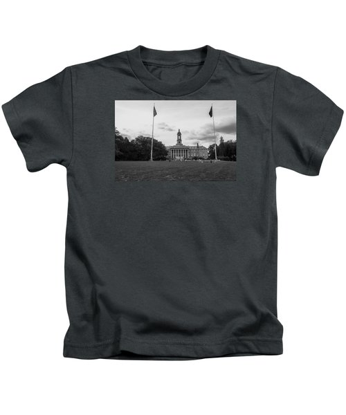 Old Main Penn State Black And White  Kids T-Shirt