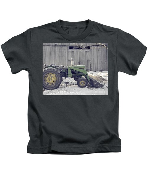 Old Tractor By The Grey Barn Kids T-Shirt