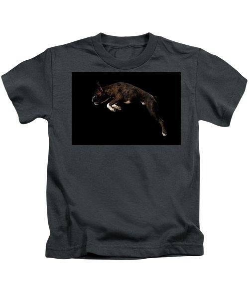 Purebred Boxer Dog Isolated On Black Background Kids T-Shirt