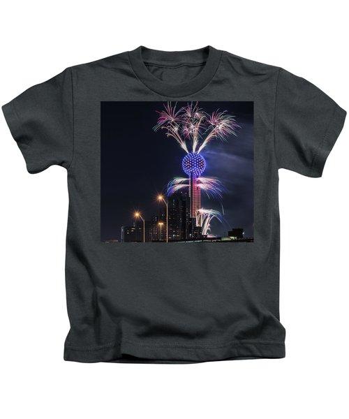 Reunion Tower Fireworks Kids T-Shirt