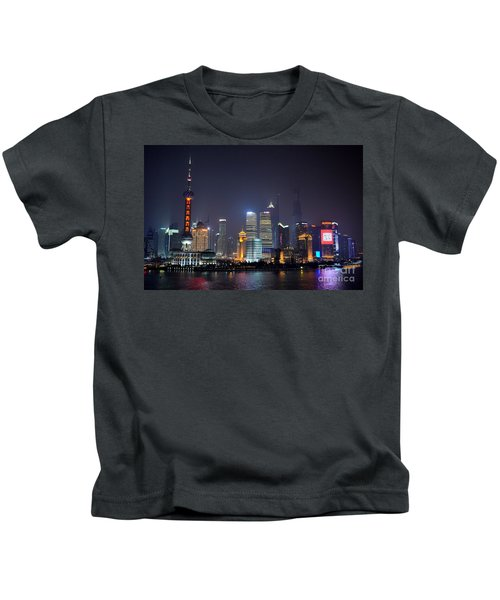 Shanghai China Skyline At Night From Bund Kids T-Shirt