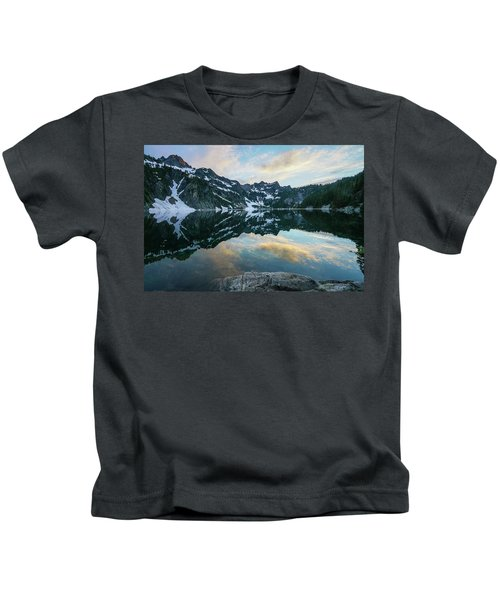 Snow Lake Chair Peak Dusk Reflection Kids T-Shirt