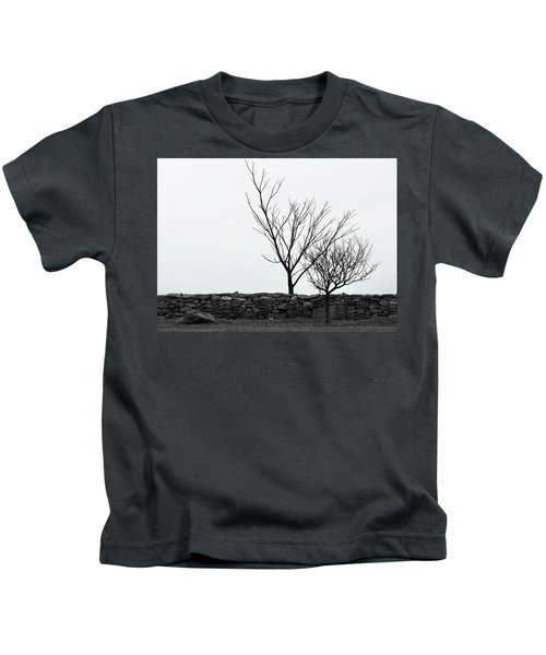 Stone Wall With Trees In Winter Kids T-Shirt