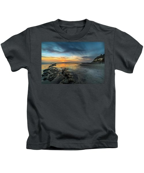 Sunset At Swamis Beach Kids T-Shirt