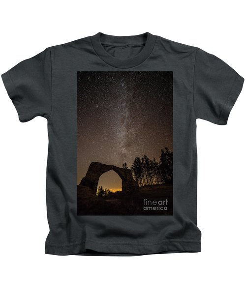 The Milky Way Over The Hafod Arch, Ceredigion Wales Uk Kids T-Shirt
