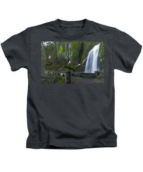 Wahkeena Falls Bridge Signed Kids T-Shirt