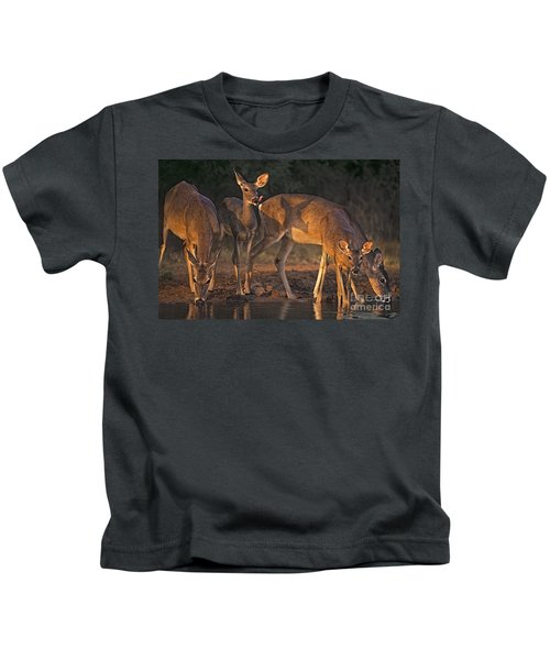 Whitetail Deer At Waterhole Texas Kids T-Shirt