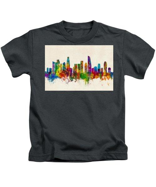 Los Angeles California Skyline Kids T-Shirt by Michael Tompsett