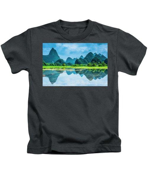 Karst Rural Scenery In Raining Kids T-Shirt