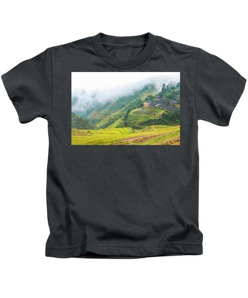Terrace Fields Scenery In Autumn Kids T-Shirt