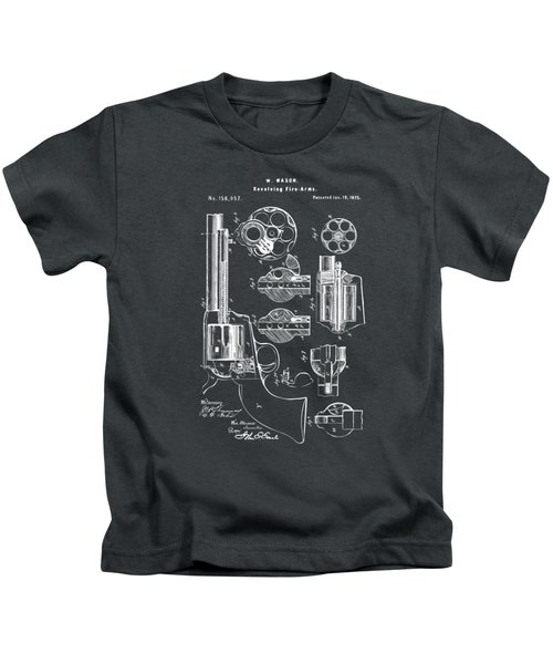 1875 Colt Peacemaker Revolver Patent Artwork - Gray Kids T-Shirt