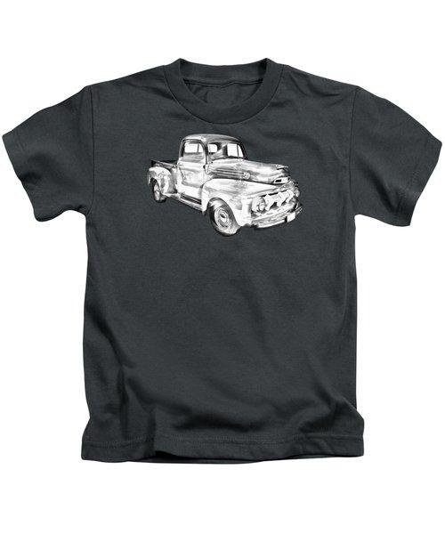 1951 Ford F-1 Pickup Truck Illustration  Kids T-Shirt by Keith Webber Jr