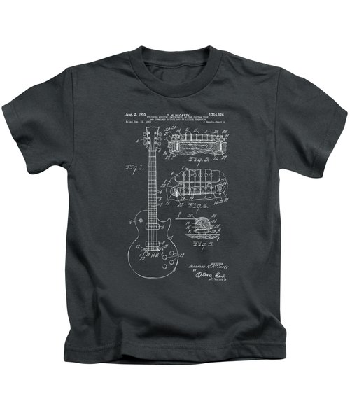 1955 Mccarty Gibson Les Paul Guitar Patent Artwork - Gray Kids T-Shirt