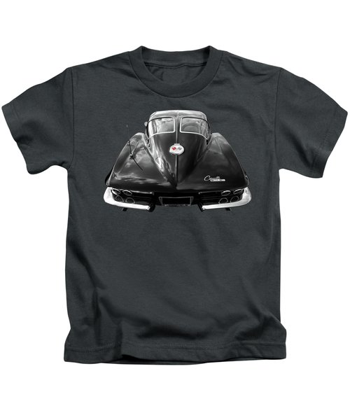 1963 Corvette Stingray Split Window Rear In Black And White Kids T-Shirt