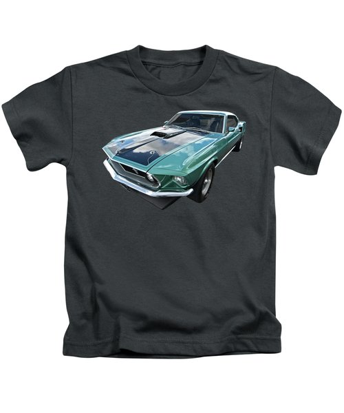 1969 Green 428 Mach 1 Cobra Jet Ford Mustang Kids T-Shirt
