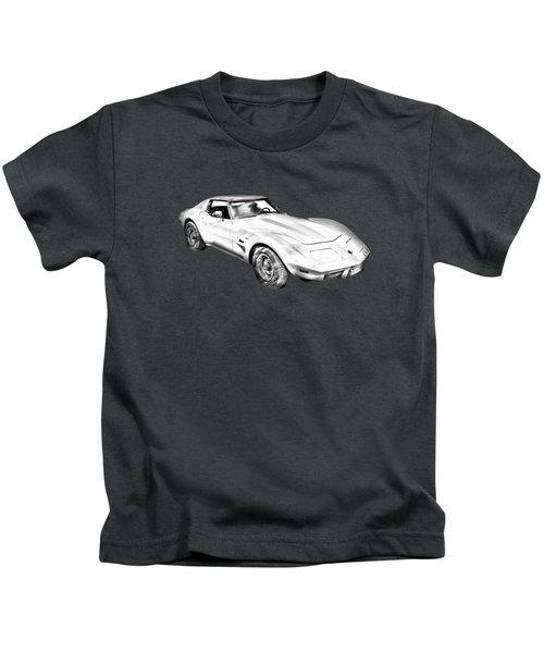 1975 Corvette Stingray Sports Car Illustration Kids T-Shirt