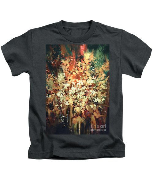 Kids T-Shirt featuring the painting Abstract Flowers by Tithi Luadthong