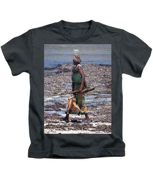 African Woman Collecting Shells 1 Kids T-Shirt
