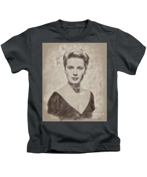 Grace Kelly, Actress And Princess Kids T-Shirt by John Springfield
